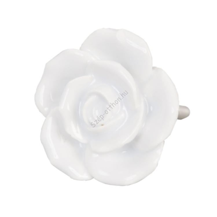 Clayre & Eef 61876 Ajtófogantyú 4,5cm,fehér rózsa