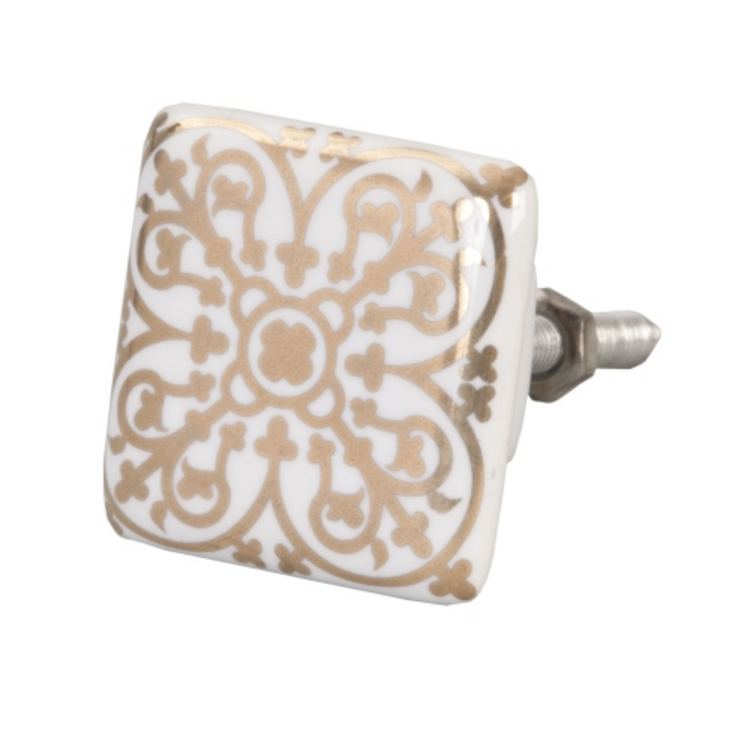 Clayre & Eef 61885 Ajtófogantyú 3,5x3,5cm,fehér-arany