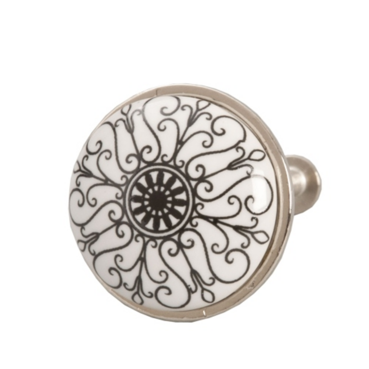 Clayre & Eef 61886 Ajtófogantyú 3cm, fehér fekete mintás, ezüst kerettel