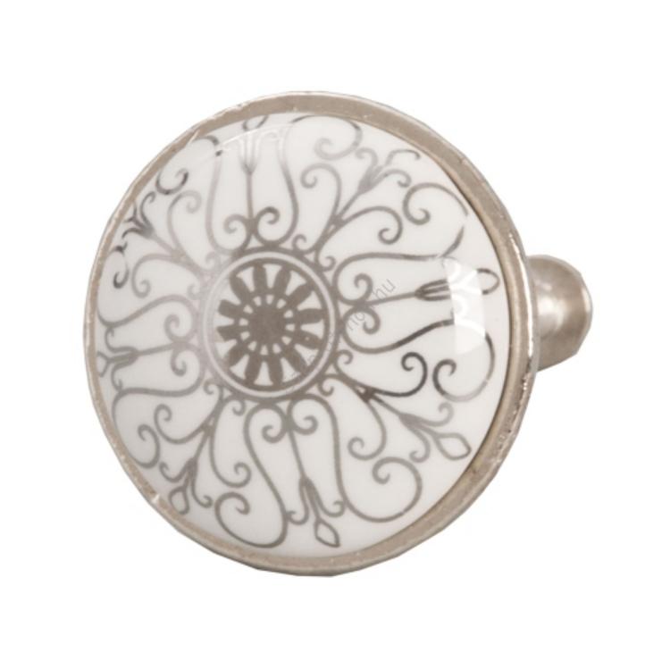 Clayre & Eef 61888 Ajtófogantyú 3 cm,fehér-ezüst