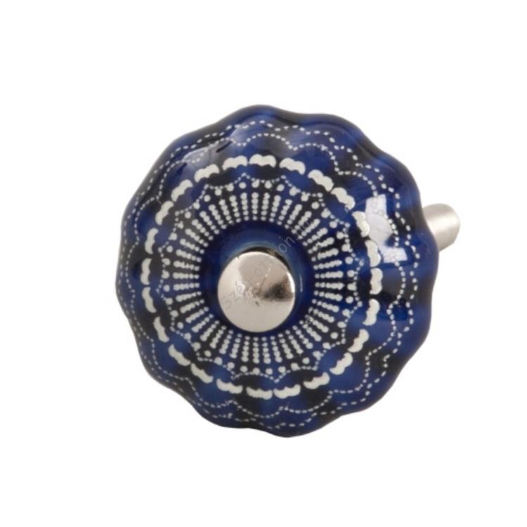Clayre & Eef 61905 Ajtófogantyú 3cm, kék fehér mintával