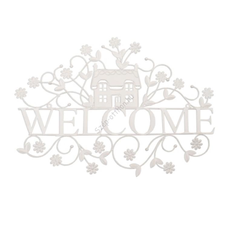 "Clayre & Eef 6Y1189 Fém fali dekoráció ""Welcome"" 56x40cm,fehér"