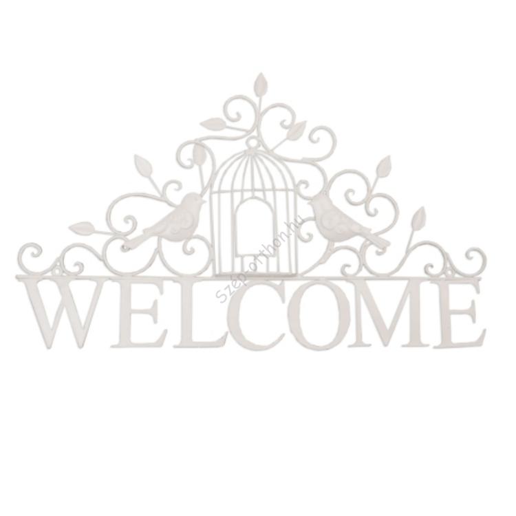"Clayre & Eef 6Y1192 Fém fali dekoráció ""Welcome"" 54x33cm,madaras,fehér"