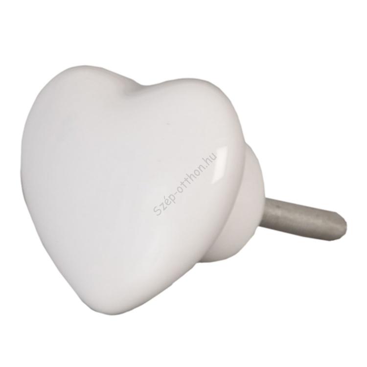 Clayre & Eef 62319 Ajtófogantyú porcelán 4x4cm, szív, fehér