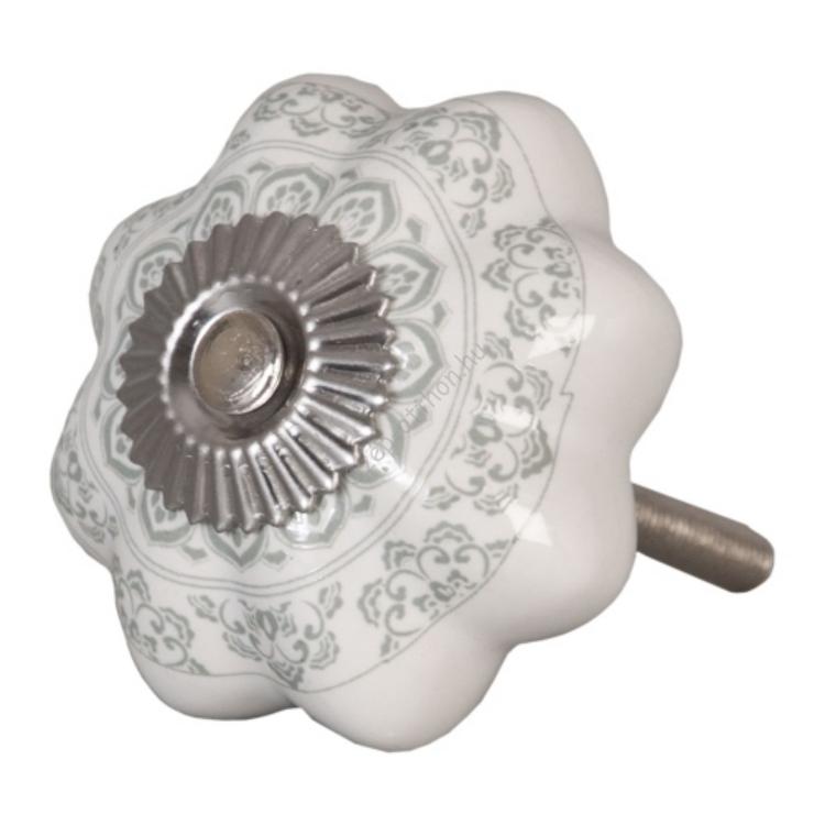 Clayre & Eef 62336 Ajtófogantyú 4,5cm, bordázott, fehér, világos szürke mintás, ezüst rátéttel