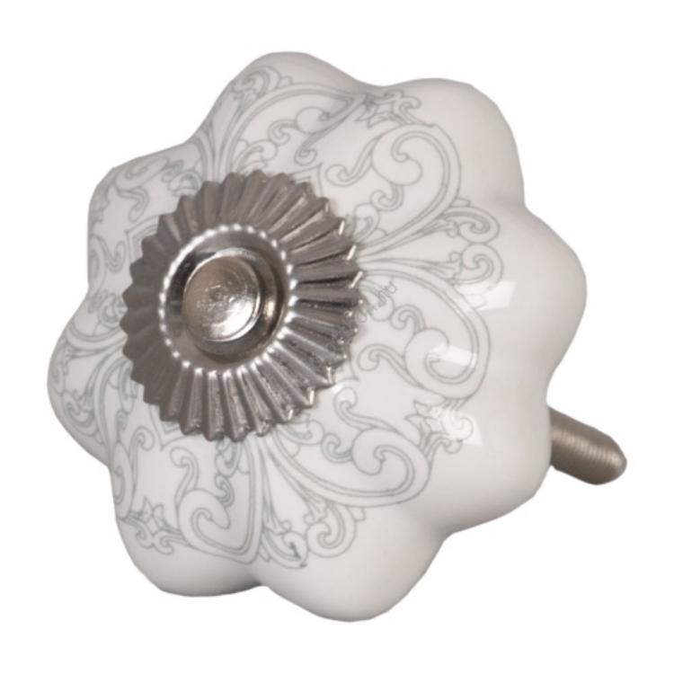Clayre & Eef 62341 Ajtófogantyú 4,5x4,5cm, fehér szürke mintával