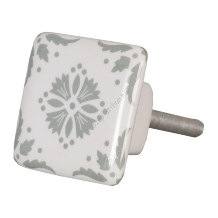 Clayre & Eef 62346 Ajtófogantyú  3,5x3,5cm, szögletes, fehér, szürke mintás