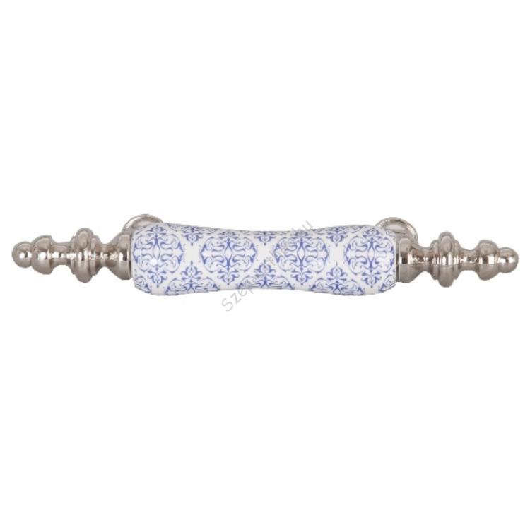 Clayre & Eef 62358 Ajtófogantyú 12x2cm,fehér kék mintás