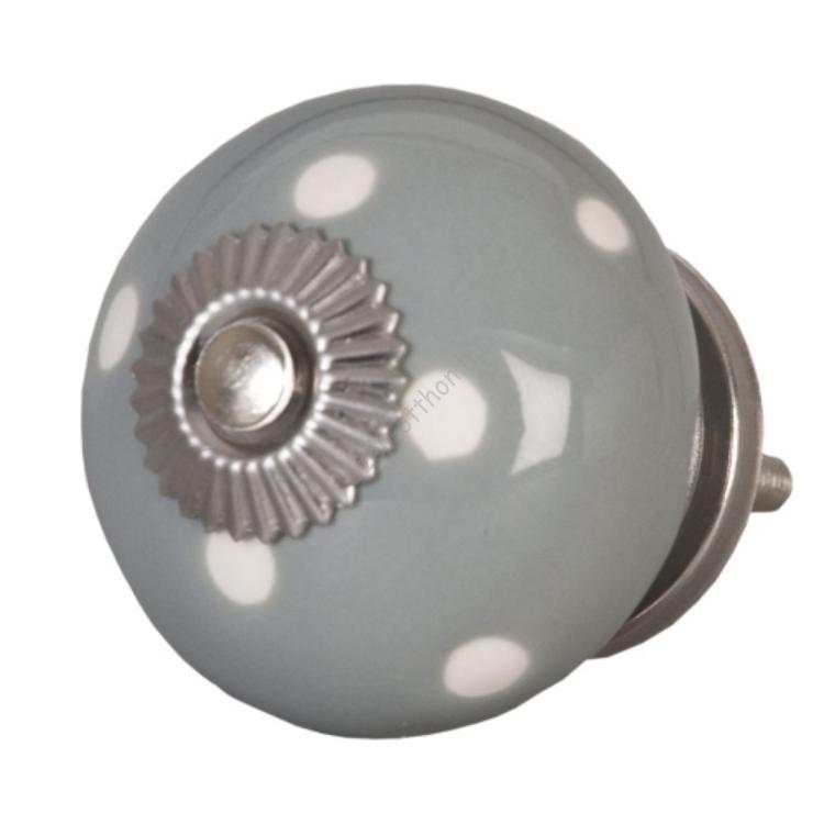 Clayre & Eef 62323 Ajtófogantyú 4cm,szürke fehér pöttyös