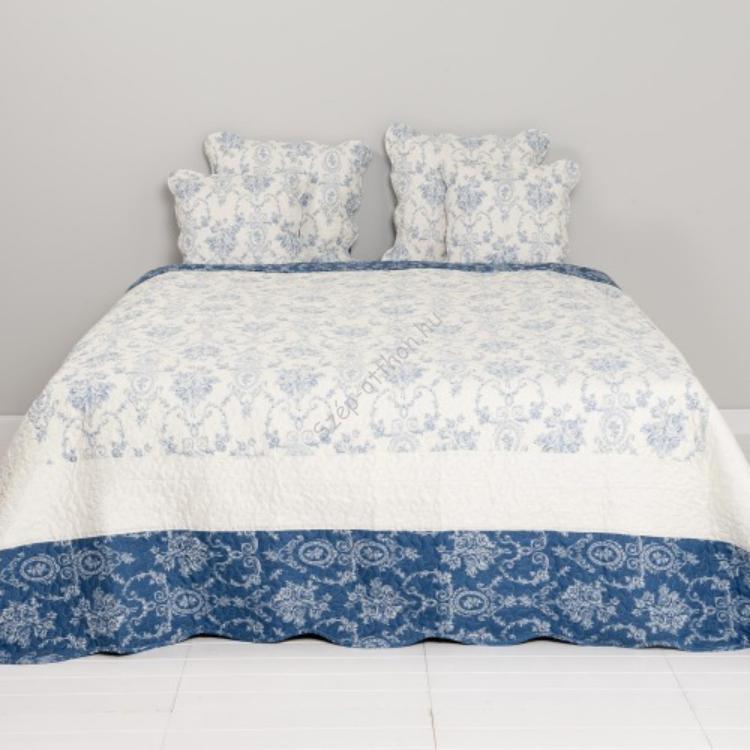Clayre & Eef Q136.059 Steppelt ágytakaró 140x220cm,fehér kék virágos