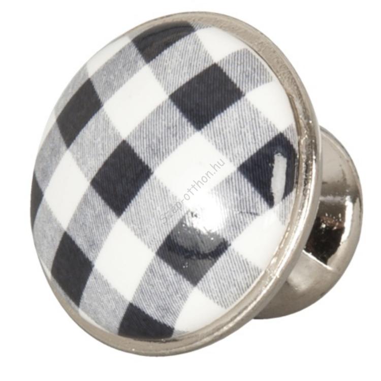 Clayre & Eef 62547 Ajtófogantyú 3cm, fekete-fehér kockás, ezüst kerettel