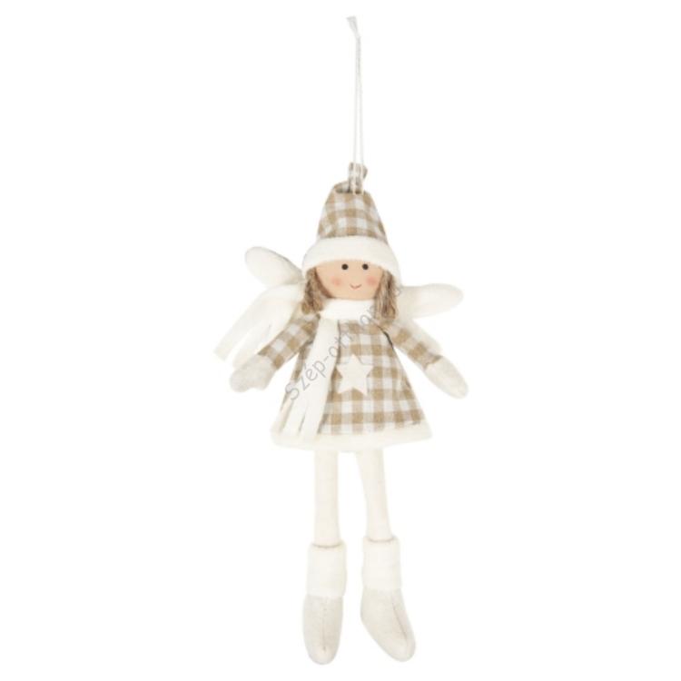 A.Clayre & Eef TW0275 Textil baba függődísz 13x29cm,kockás ruhás