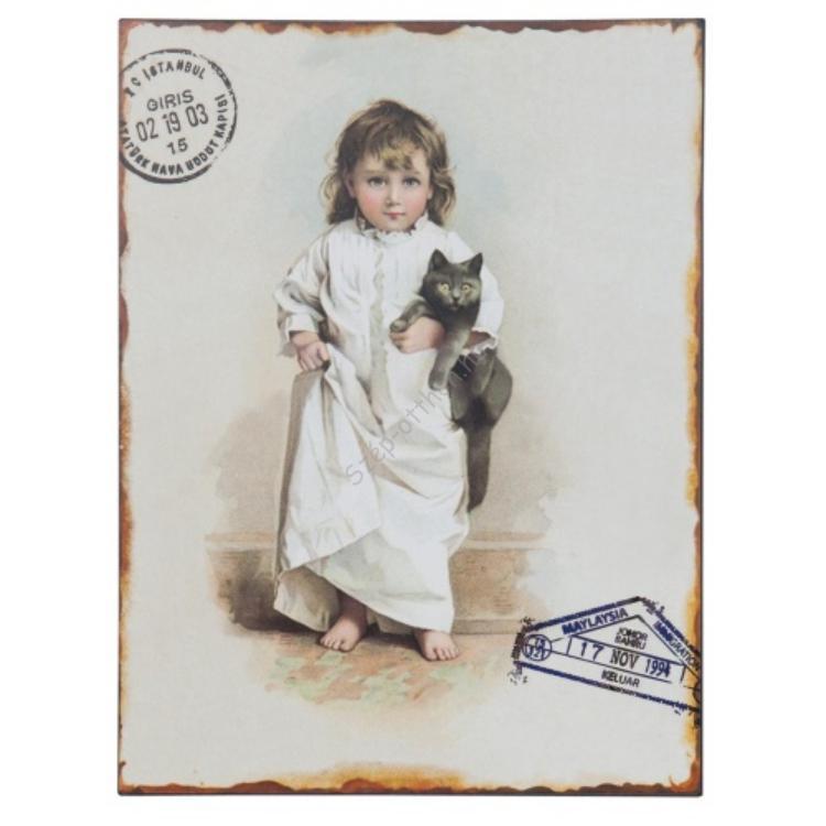 Clayre & Eef 63126 Fém kép 25x33cm, kislány macskával
