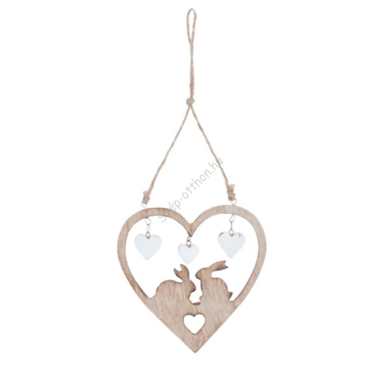Clayre & Eef 6H0990 Fa függődísz szív alakú, közepén nyuszikkal 12x13cm