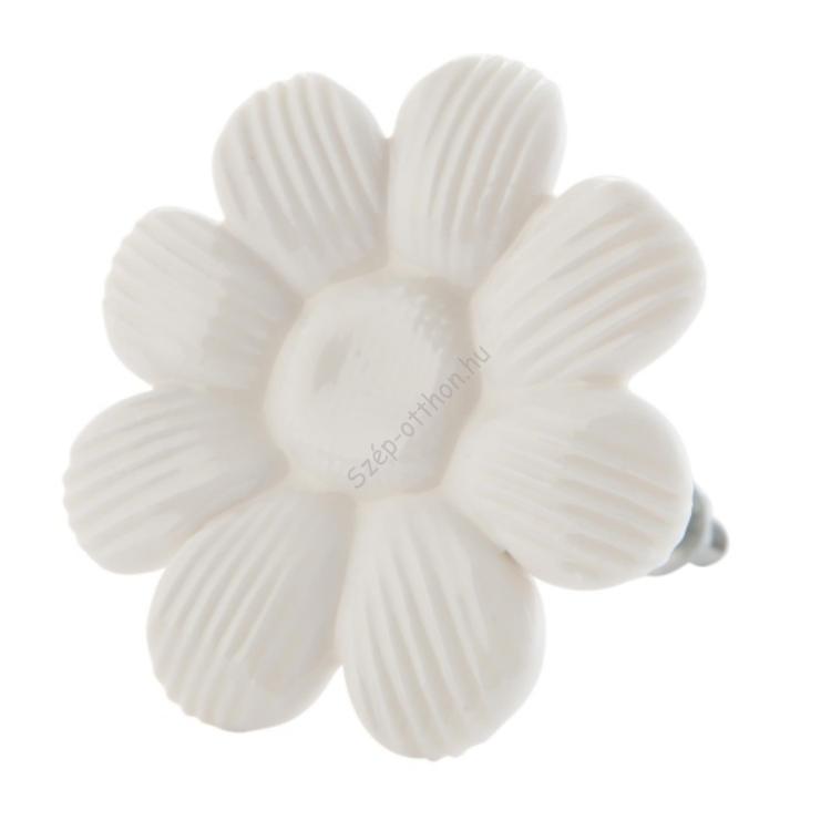 Clayre & Eef 63109 Ajtófogantyú 5cm, fehér virág