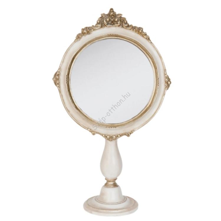 Clayre & Eef 62S070 Asztali tükör krém színű,19x9x33cm arany dekorral