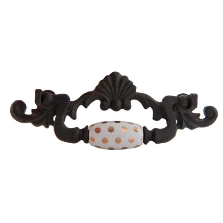Clayre & Eef 63307 Fém bútor fogantyú barna 15x2x5cm,porcelán fehér-arany betéttel