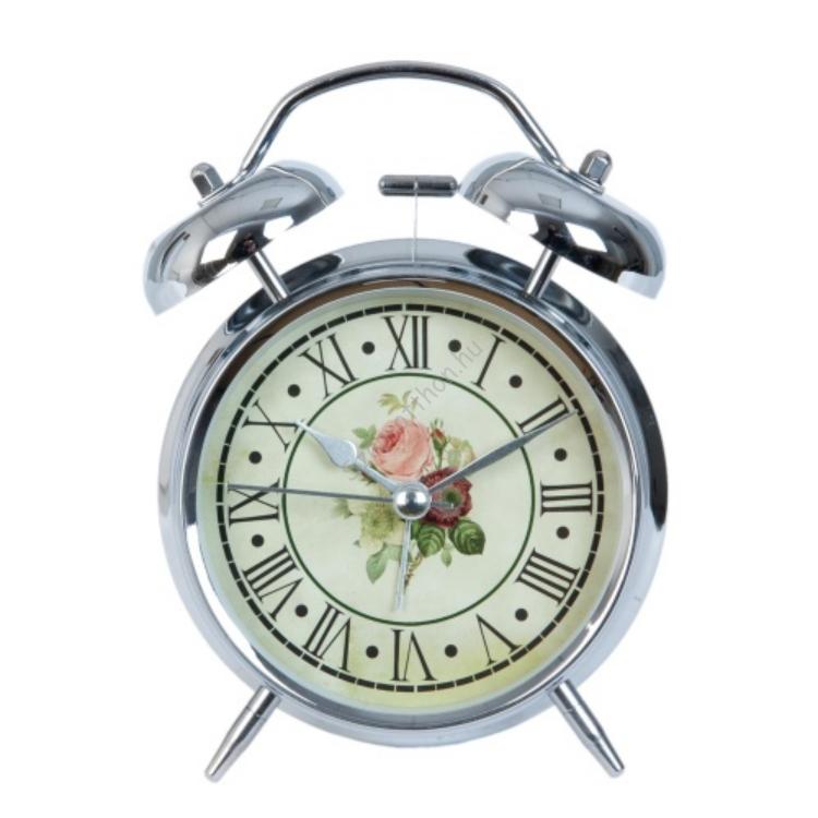 Clayre & Eef 6AC0012 Ébresztő óra fém ezüst színű 12x15cm,rózsás