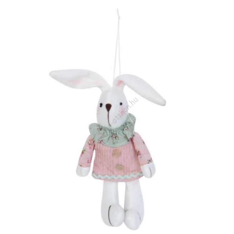 Clayre & Eef TW0385 Textil nyuszi 11x5x22cm,rózsaszín ruhás