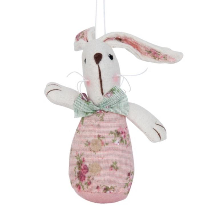 Clayre & Eef TW0390 Textil nyuszi rózsaszín 8x4x13cm