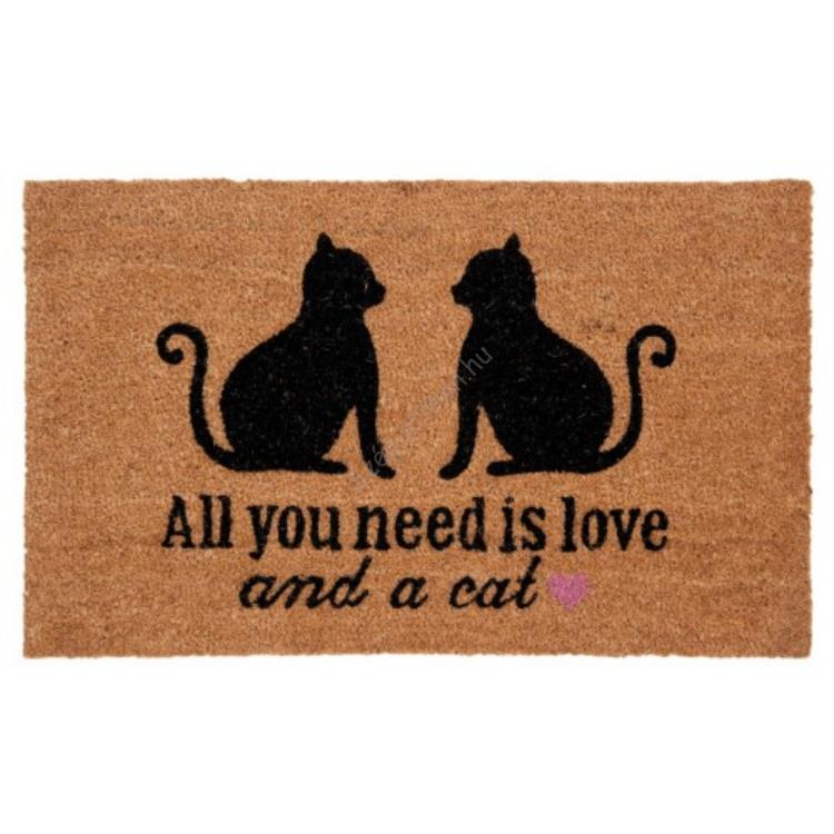 """Clayre & Eef MC109 Lábtörlő 75x45cm, macskákkal  """" All you need is love and a cat """""""