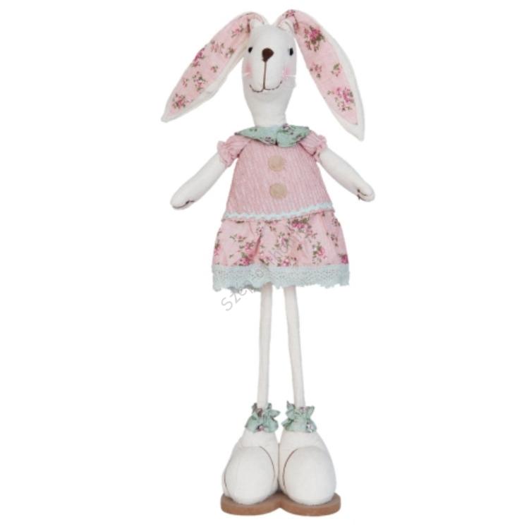 Clayre & Eef TW0387 Textil álló nyuszi lány 16x10x60cm,rózsaszín ruhás