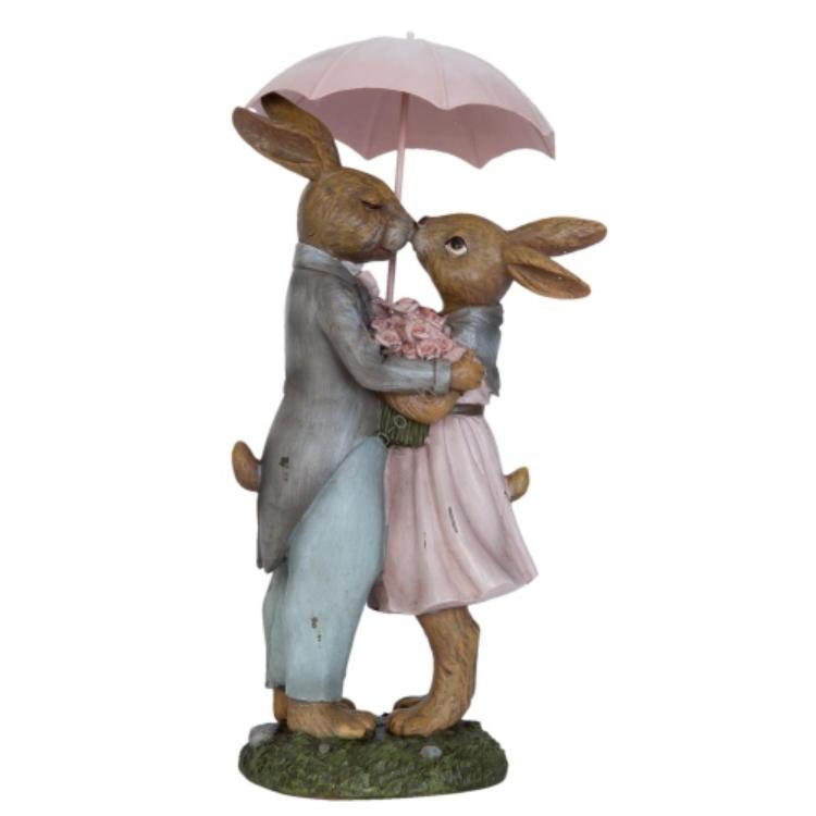 Clayre & Eef 6PR0775 Dekor nyuszi pár esernyővel műanyag,17x15x34cm
