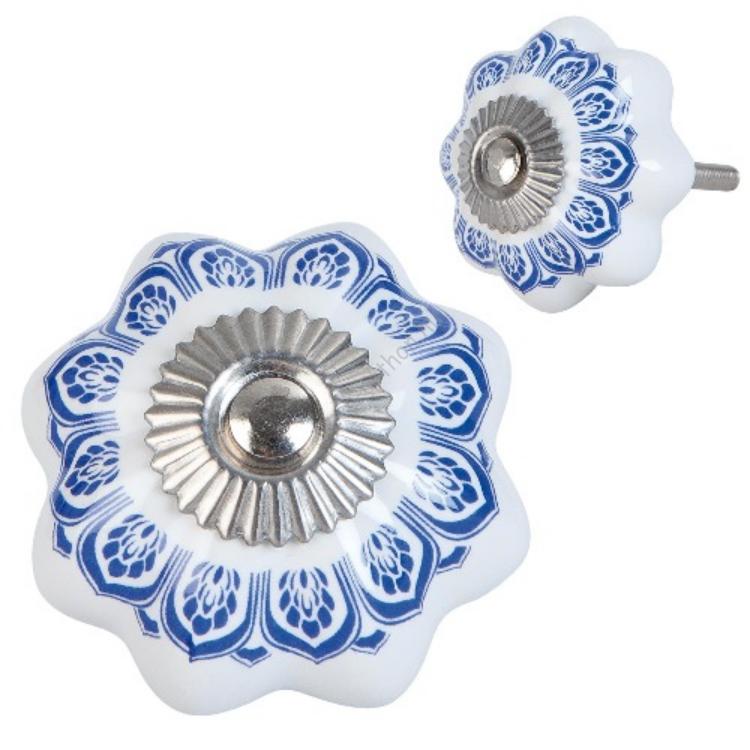 Clayre & Eef 63416 Ajtófogantyú porcelán 4cm,fehér kék mintás
