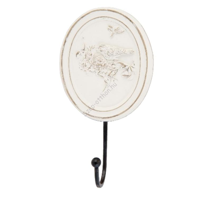 Clayre & Eef 63443 Fali akasztó egy részes ovál 24x5x13cm,krém színű virágos-madaras