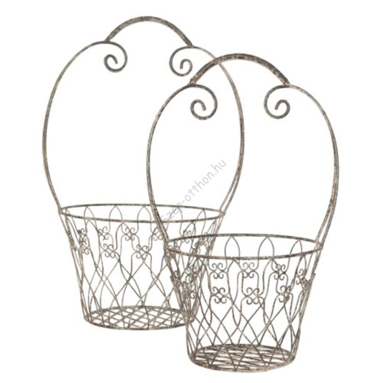 Clayre & Eef 6Y1479 Fém virágtartó kosár szett 2db-os, 29x53cm/25x46cm,szürke