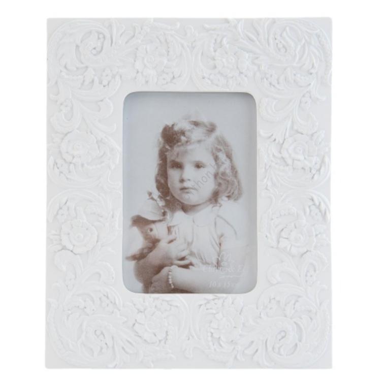Clayre & Eef 2F0318 Képkeret műanyag 20x25cm fehér,virág mintás