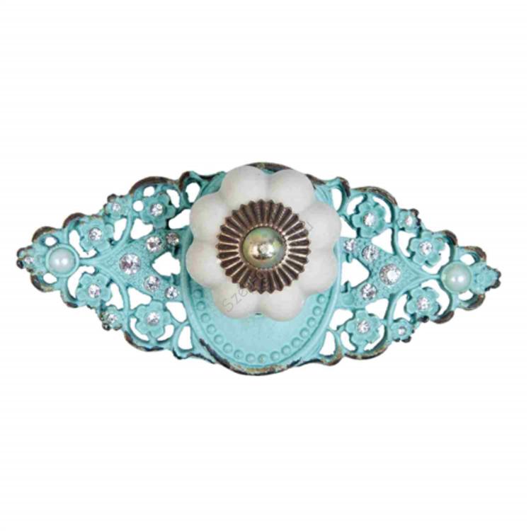 Clayre & Eef 63628 Ajtófogantyú fém, porcelán gombbal, 11x4x5cm, zöld, gyöngyökkel díszítve