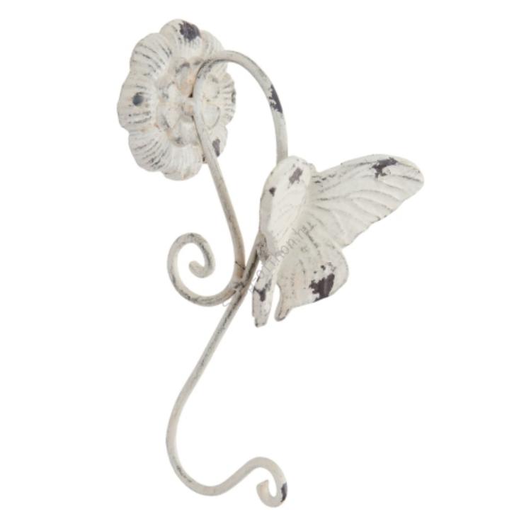 Clayre & Eef 6Y2287 Fém fali akasztó 1-es pillangós 11x11x24cm,antikolt krém színű