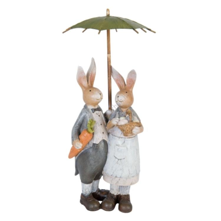 Clayre & Eef 6PR1018 Dekor figura nyuszi pár 16x16x35cm,esernyős, répával-kosárral