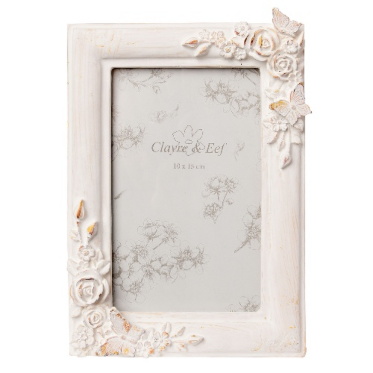 Clayre & Eef 2F0383 Műanyag képkeret sarkán virág-lepke dísszel 14x20cm,fehér