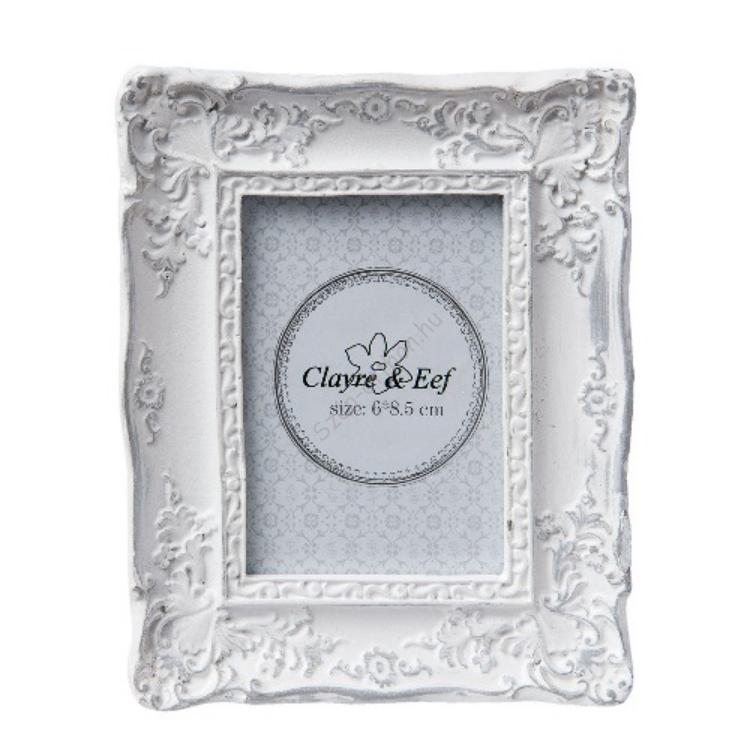 Clayre & Eef 2F0423 Képkeret műanyag 10x12cm,fehér antikolt
