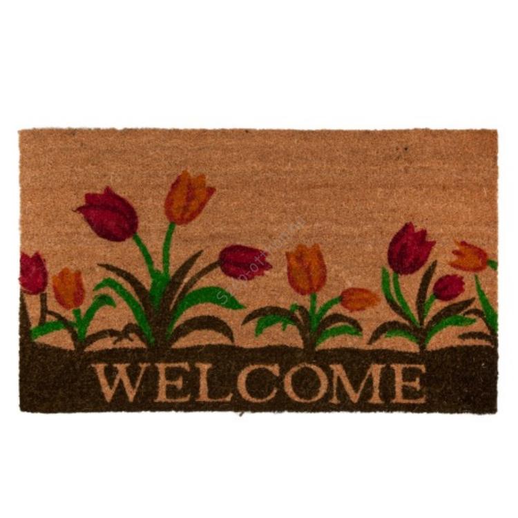 "Clayre & Eef MC122 Lábtörlő 75x45cm,tulipános ""Welcome"" felirattal"