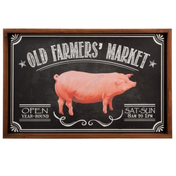 "CLEEF.6H1310 Fali felírótábla, fa 56x2x37cm, ""Old Farmers Market"""