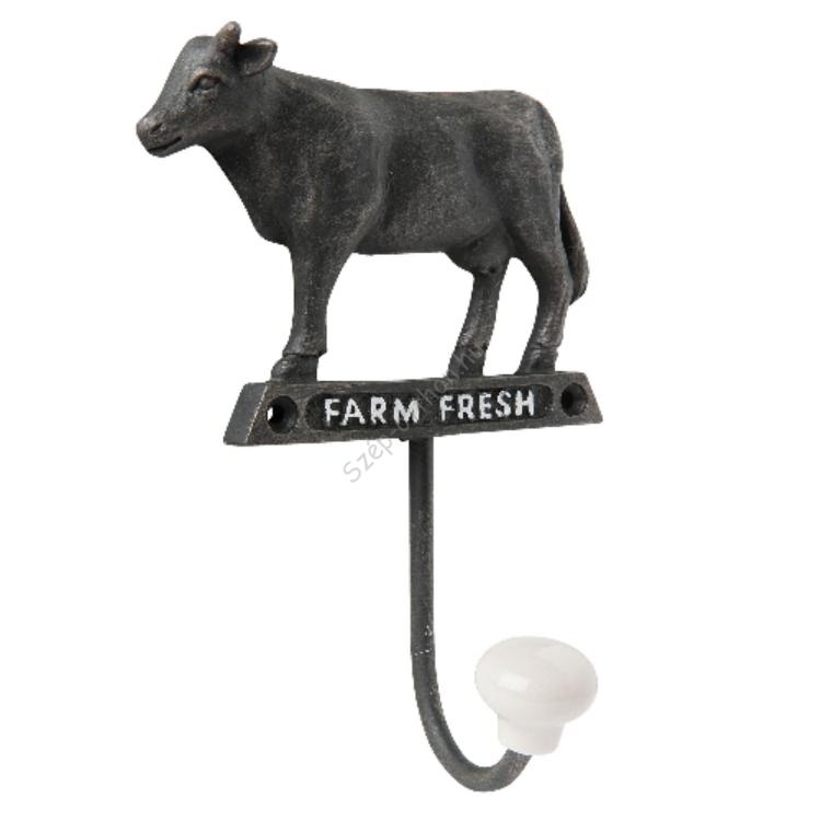 Clayre & Eef 6Y2308 Fém fali akasztó porcelán gombbal 10x5x14cm,farm fresh