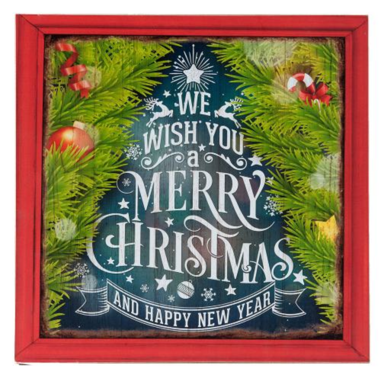 Clayre & Eef 6H1425 Fa kép 30x1x30cm,We wish you a merry christmas