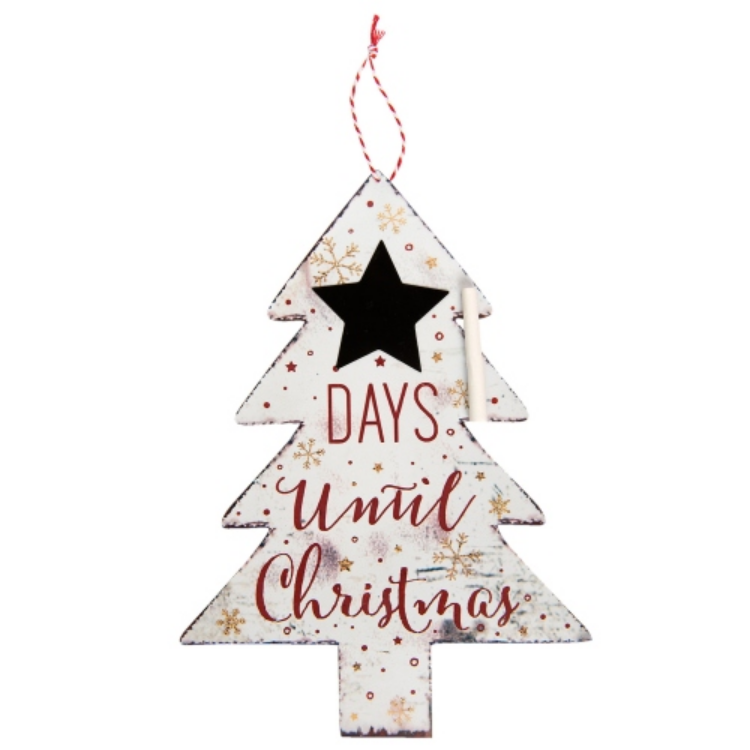 A.Clayre & Eef 6Y2481 Fém függődísz 23x32cm karácsonyfa krétával, Days until Christmas