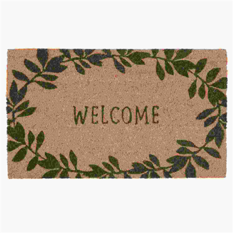 "Clayre & Eef MC125 Lábtörlő 75x45cm, zöld leveles "" Welcome"""