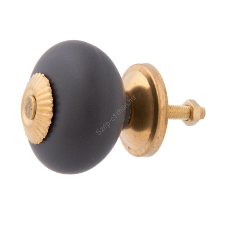 Clayre & Eef 63809 Kerámia ajtógomb, sötétszürke arany rátéttel, 4x4cm
