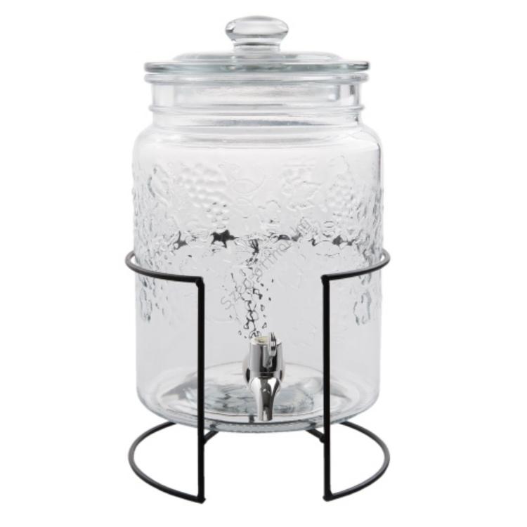 Clayre & Eef 6GL2174 Limonádés csapos üveg 5L, fém állványon, 27x42cm