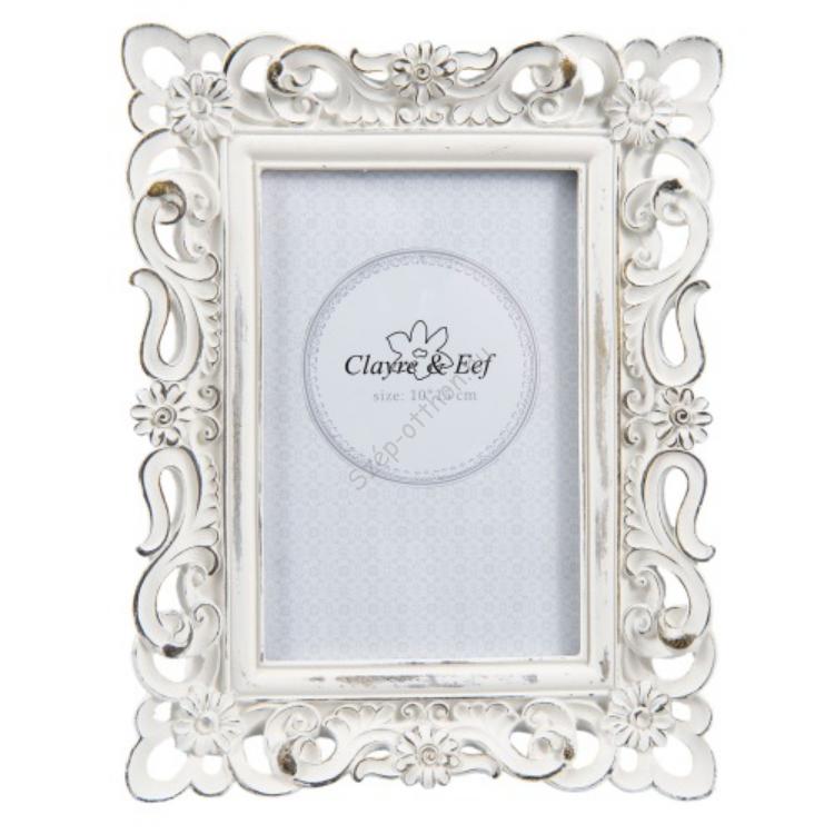 Clayre & Eef 2F0499 Képkeret 17x22cm/10x15cm, műanyag, fehér virágos kerettel