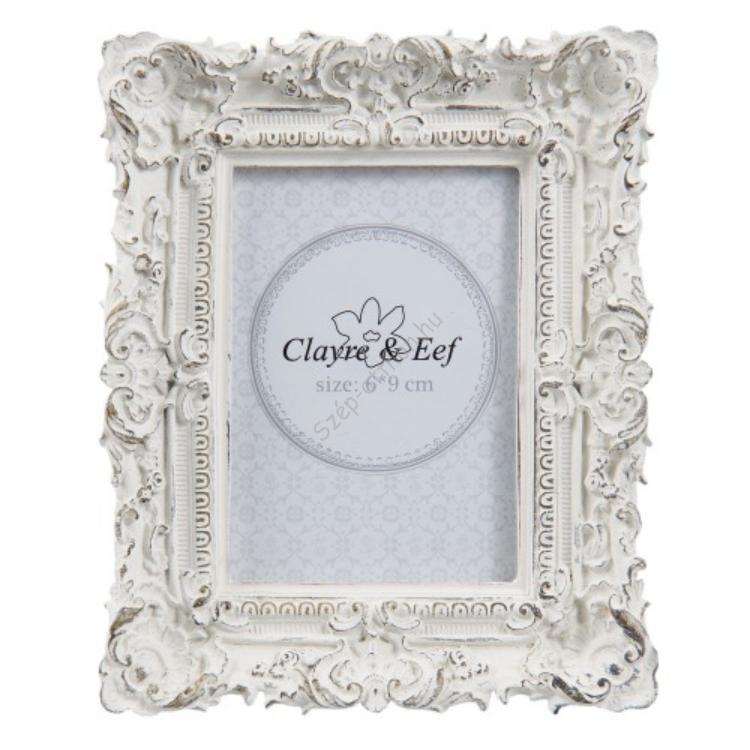 Clayre & Eef 2F0506 Képkeret 10x12cm/6x9cm, műanyag, fehér antikolt díszes kerettel