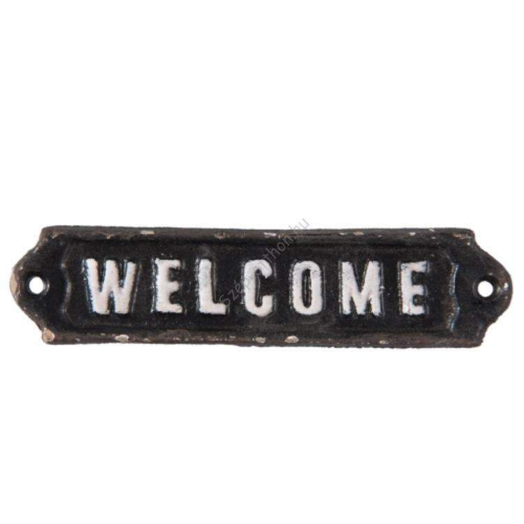 """Clayre & Eef 6Y2597 Öntöttvas ajtótábla """" Welcome """" felirattal, 15x1x3cm"""