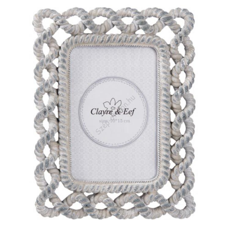 Clayre & Eef 2F0511 Képkeret 17x22cm/10x15, kötél díszítéssel, műanyag