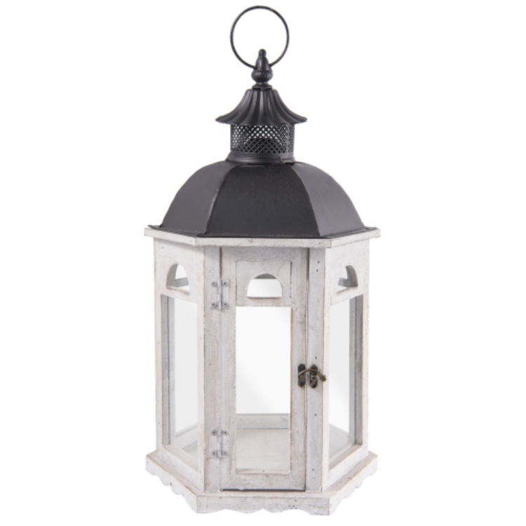 Clayre & Eef 63923 Fa lantern szürke hatszögletű 28x26x52cm, fekete fém tetővel