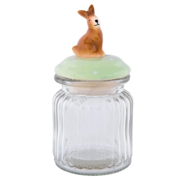 Clayre & Eef 63918 Tároló üveg bordás 8x16cm / 0,25l kerámia tetővel, nyuszis